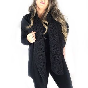 Kensie black cardigan sweater! Faux fur!